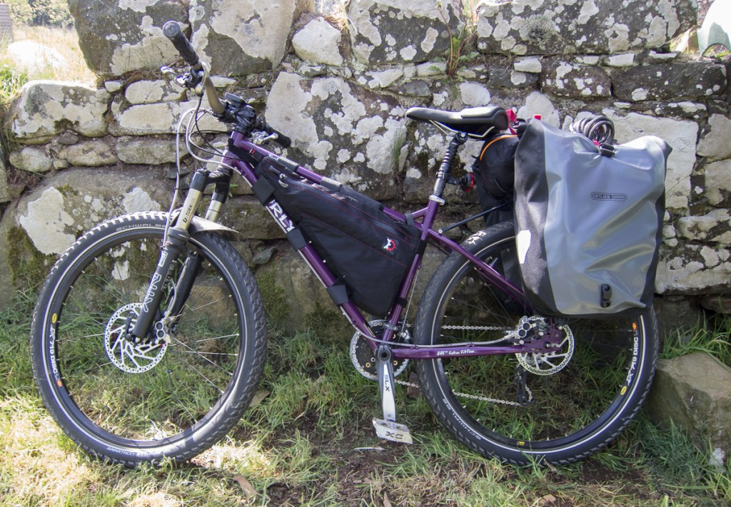Mountain bike with rack and panniers